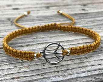 Peace Macrame Bracelet, Peace Anklet, Adjustable Macrame Friendship Bracelet, Macrame Jewelry, Gift for Her, Peace Symbol, Peace Sign