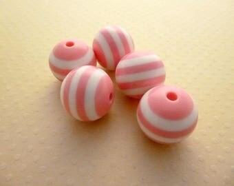 Set of 5 pink white striped acrylic beads 20mm - PA20 1511