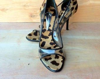 vintage GIUSEPPE ZANOTTI clear plastic, cow hair, high heel pumps  made in ITALY sz eu 37.5 us 6