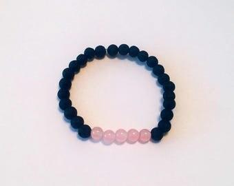 Rose Quartz and Lava Rock Diffuser Bracelet