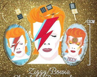 Ziggy Stardust Bowie Christmas Hanging Decorations Ornaments 3 for 20GBP Special Offer Aladdin Sane Bowie Art Handmade Baubles Music Unique