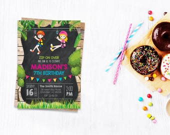 Cute Zip Line Invitation Party Zipline Birthday Invitations Invite