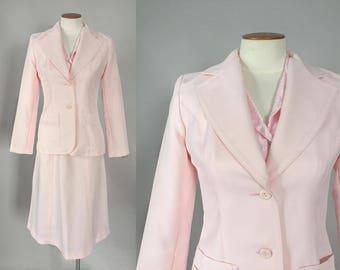 Vintage 1970s blush pink suit / 70s blazer & skirt set / extra small XS