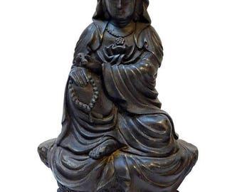 Sales Deep Meditate Kwan Yin , Bodhisattva , Guanyin Statue Sitting On Lotus Flower Base n250E
