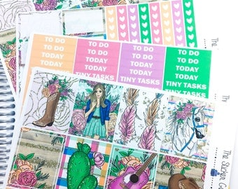 Southern Dreams Weekly Kit | Planner Stickers, Weekly Kit, Spring Weekly Kit, Vertical Planner Kit, western weekly kit, cactus weekly kit
