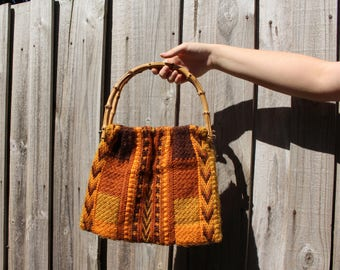 Knitted Sunrise Handbag with Bamboo Handles