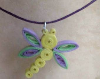 Quilling paper rolled Dragonfly pendant necklace