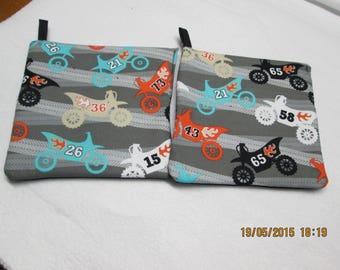 set of 2 pot holder patterns Motocross size 20 x 20 cm