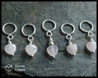 Set of 5 stitch markers, sterling silver 0.925 and pink quartz hearts. Up to 8mm needles. Handmade. 222