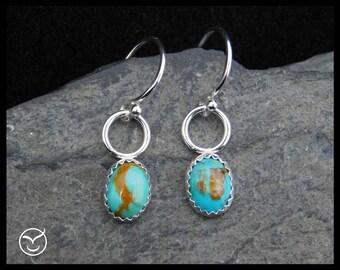 Kingman turquoise dangle earrings, 8x6 mm cabochon, sterling silver, posts earrings, studs, December birthstone, 242