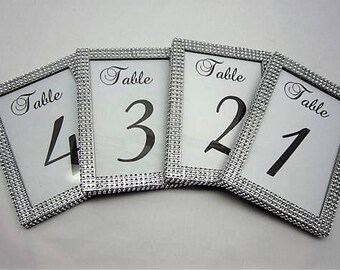 5 x 7(10) Table Frames with Silver Rhinestone. Wedding, Baby shower, Bridal shower, Quinceñera or special event,Table numbers not included .