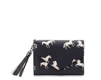 Small wallet women cards, Oilcloth pocket wallet Compact purse, Horse wallet, mini vegan purse Travel card wallet, Ladies Teenage girl purse