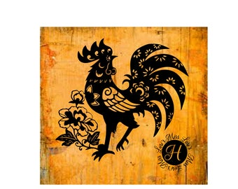 Folk art Rooster decal   stencil SVG   cut file  t-shirts  animals scrapbook vinyl decal wood sign cricut cameo Commercial use