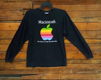 Rare Vintage 90s Apple Macintosh Long Sleeve T Shirt, Size M, Macintosh The Power To Crush The Other Kids, Apple T Shirt, Apple Computer