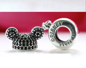 Disney MICKEY EAR HAT Clear Cz Charm / New / Threaded / s925 Sterling Silver / Fully Stamped