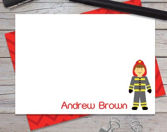 Personalized Thank You Notes, Fireman Stationary Set, Boys Notecards, Note Cards for Kids, Toddler Boy Birthday Gift, Fire Man (1708-011FL)