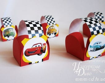 10 candy box theme cars makvin Disney -Unique author's design-candy bar decor-Chocolate wrapper papers-party gift boxes-Birthday Bomboniere
