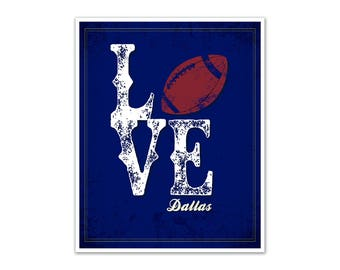 LOVE Dallas Football Poster (Blue and White)