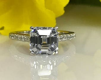 Moissanite Asscher Cut With Diamond Accents Engagement Ring 2.50ctw. Set  In 14K White Gold #5142