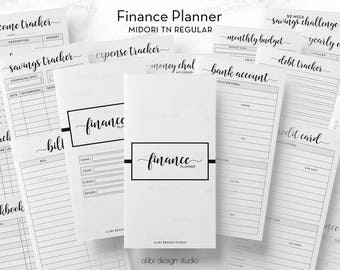 Standard TN, Finance Planner, Budget Planner, Travelers Notebook, Expense Tracker, Income Tracker, Monthly Budget, Midori Inserts