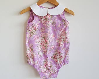 Baby girls playsuit // peter pan collar // romper // purple // pink // floral // spring // baby gift // baby shower