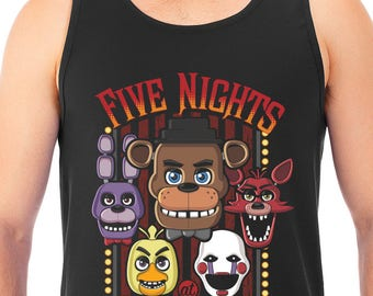 New FNAF Five Nights at Freddy's Multi-Character Men's Tank Top T-Shirt Unisex Tanks Adult Sizes