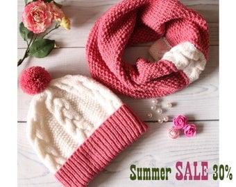 Winter Hat Scarf Set Hat scarf women Beanie cowl women beanie cowl set wool pom pom hat winter accessories beanie scarf women