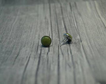 Stainless steel earrings cabochon Green
