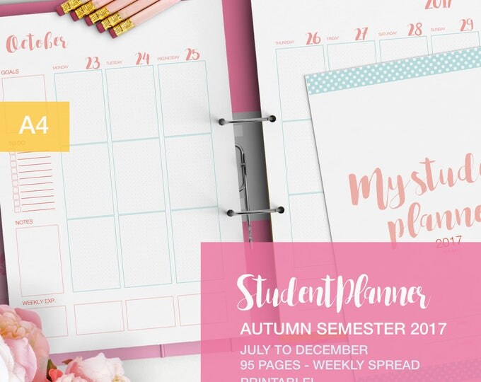 Featured listing image: Student planner for autumn semester 2017  - A4 planner inserts - nursing student planner