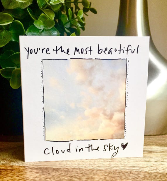 I love you Card, You are beautiful card, First anniversary card for wife, husband anniversary card, first anniversary, clouds in the sky