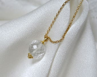 Chain with quartz rock crystal Rondelle micro faceted 9 mm chain with opulent quartz mountain crystal circular micro faceted 9 mm