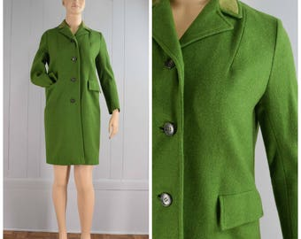 Vintage Womens Capri New York Pea Green Wool Button Front Fully Lined Coat with Velvet Collar | Size M