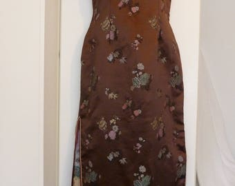 Vintage 1950s 1960s Cheongsam. Brown Satin Chinese Wiggle Dress. Goodwood Revival. Size 8-10, S.