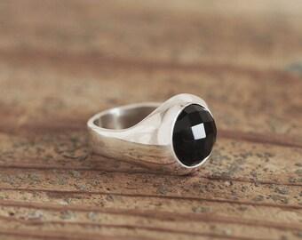 12mm Black Onyx Cabochon Silver Ring