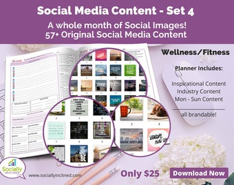 Social Media Images - Content for Fitness / wellness (SET 4) -- 57+ original images with blank planner pages, checklists, tasks, and goals