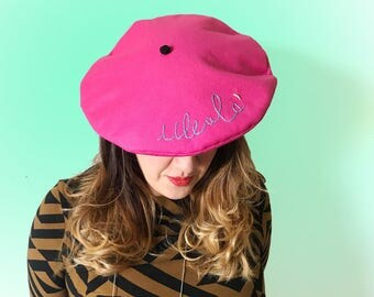 French fuchsia banquet style hat with Ullallà embroidery