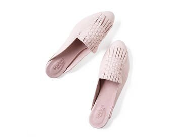 Woven mules, Pink Leather shoes, Pink mules, Woven shoes, Flat shoes, Women shoes, Leather slip ons, Pink shoes, Woven slipon