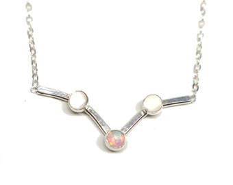 Sterling Silver Necklace: Opal and Moonstone.  FREE US Standard Shipping.