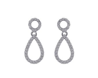 0.35 Carat Round Cut Diamonds Drop Earrings 14K White Gold