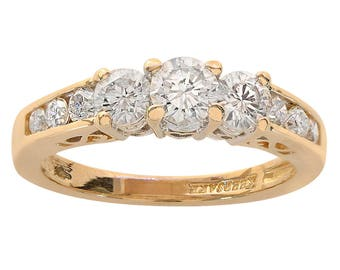 0.85 Carat Round Cut Diamond Engagement Ring 14K Yellow Gold