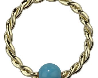Synthetic Turquoise Solid 14K Yellow Gold Twisted Captives