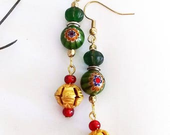 Murano glass and gold dangle earrings