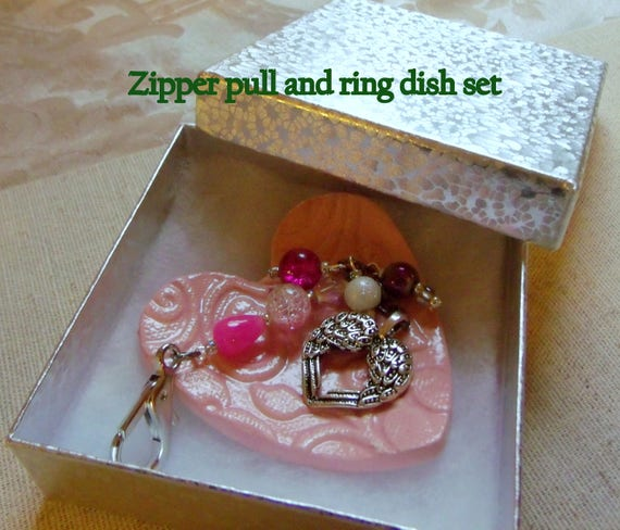 Valentines gift set - ceramic heart ring dish - pink zipper pull - silver wing heart - Anniversary gift - mothers day -  bag charm