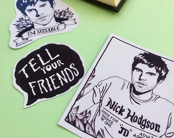 Nick JD Hodgson Sticker Pack/ 3 Pack Stickers/ Vinyl Stickers/ Monochrome/ Laptop Stickers/