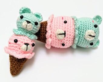 cute ice cream cone bear - MADE TO ORDER - handmade crochet - amigurumi - plush - toy