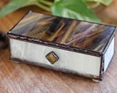 Little Brown and White Glass Box with Jasper Stone