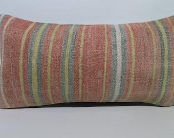Striped Kilim Pillow Bohemian Kilim Pillow Ethnic Pillow 12x24 Turkish Multicolor Kilim Pillow Boho Pillow Cushion Cover   SP3060-1425