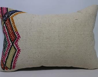 16x24  Flat weaving Beige pillow 16x24 White plaid kilim pillow Large size kilim pillow,Decorative Pillow Cushion Kilim Pillow  SP4060-1110