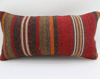 pillow,pillow covers,kilim pillows,kilim pillow covers, 10x20 lumbar pillow turkish kilim pillow striped pillow boho pillow case SP2550-1581
