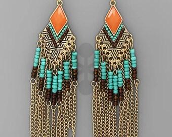 diamond fringe boho bead earrings - coral, mint, brown, gold; turquoise, orange, brown, gold